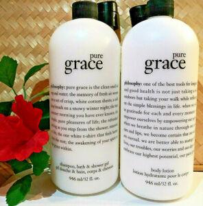 Philosophy PURE GRACE Shampoo Shower Gel & Body Lotion 32 oz. & Pumps - Sealed