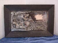 """Bild - Wandbild - Relief - Metall versilbert -""""Alt Heidelberg"""" signiert  R"""