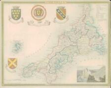 1837 ORIGINAL ANTIQUE Decorative MAP - CORNWALL by Thomas Moule Hand Colour