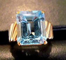 Vintage Ladies Emerald Cut Blue Topaz 14K Yellow Gold Ring-Sz 5.5-Heavy Mounting