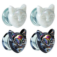 Glass Cat Design Ear Gauges and Body Piercing Jewelry for Woman Ear Plugs 2pcs