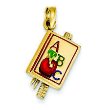 14K Yellow Gold ABC School Book with Enamel Charm Pendant MSRP $755