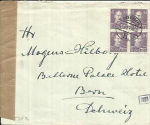 Denmark Sc#280(block of 4)-COPENHAGEN 27/7/44-WWII CENSOR(Munich)