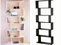 6 Tier Tall Bookcase Corner Shelving DVD Display Storage Shelf Unit Home Office