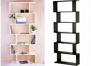 6 Tier Tall Bookcase Corner Shelving DVD Display Storage Shelf Unit Home Office