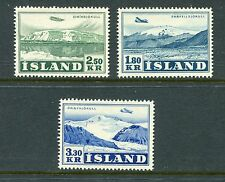 ICELAND 1952 AIR PLANE GLACIERS MNH set 3 Stamps