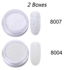2 Boxes Gradient Glitter Powder Shimmer White Nail Powder Nail Art Decorations