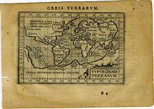 1609 Genuine Antique miniature maps. Set of 6. World & Continents. Ortelius