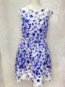 Ladies Eliza J Tea Dress Size 16 Fit Flare Floral Belted Knee Length Wedding