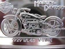 1.4 OZ.999 PURE SILVER 1929 WL 45 90TH ANNIVERSARY HARLEY DAVIDSON PROOF BAR.