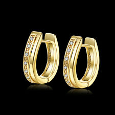 New 18K Yellow Gold Plated Korean One Rows Cubic Zirconia Huggie Hoop Earrings