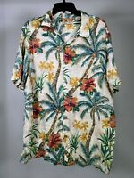BATIK BAY Beige Hawaiian Plaid Floral Button Short Sleeve Rayon Shirt Mens XL
