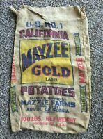 * Mayzee Gold Label Burlap Potatoe Bag ARVIN CALIFORNIA