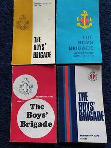 4 BOYS' BRIGADE MEMBERSHIP CARDS 1968-1971 INCL ENVELOPES! - FREE P&P!!