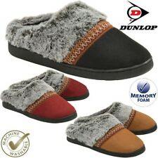 Ladies Slippers Slip On Comfy Mule Faux Sheepskin Fur Memory Foam Washable Shoes
