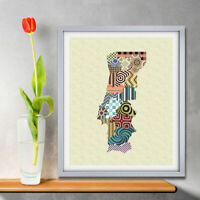 Art Portugal Map Print Lisbon Travel Poster Painting Abstract Home Wall Decor