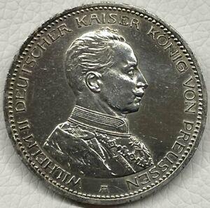 Preussen 5 Mark 1913 A Kaiser in Uniform Silber Kaiserreich