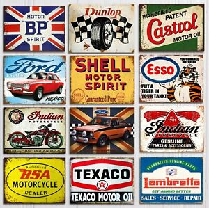 Metal wall signs plaques garage mancave vintage retro style shed car Shell bike