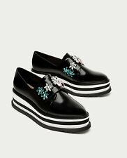 c6c0022f2165 Zara Platform derby shoes with beading NEW US Size 8 EU39