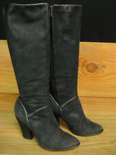 FRYE Betty Black Leather Knee High Heel Boots Size 7 M