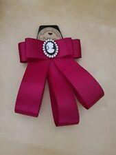 bow brooch on trend,handmade Red cameo designer inspired