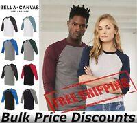 Bella + Canvas Unisex Blank Three-Quarter Sleeve Baseball T Shirt 3200 up to 2XL