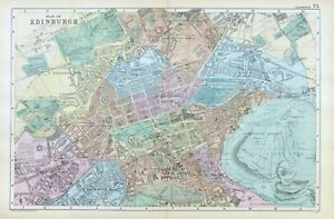 EDINBURGH, 1899 -  Original  Antique Map / Street Plan , Bacon.