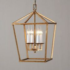 Vintage Geometric Cage Kitchen Pendant Light Brass Foyer Ceiling 4 Candle Light