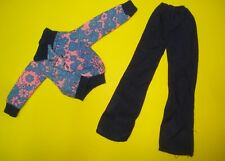 Vtg Barbie 70s Hipster Doll Clothes Blue Paisley Yachtsman Jacket w Bells No Tag