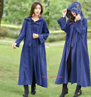 Womens Chinese Embroidery Cloak Hooded Coat Cape Floral Jacket Long Cardigan