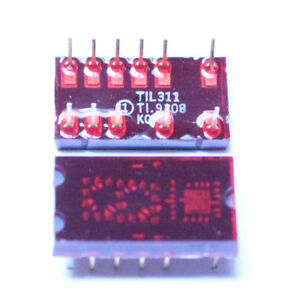 2 STK. TIL311  4-BIT HEXADEZIMAL DISPLAY TEXAS INSTRUMNETS 0-F 2pcs.