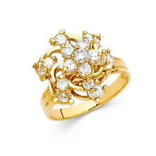 Flower Motion Ring Solid 14k Yellow Gold Moveable Band Cluster CZ Floral Fashion