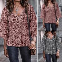 Women Plus Size Leopard Print Tops V-neck Loose Ladies Jersey Party Shirt Blouse