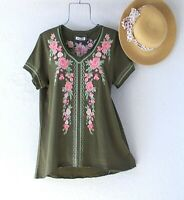 New~Moss Green Coral Mint Sage Embroidered Peasant Blouse Shirt Boho Top~Size XL