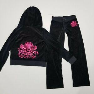 Juicy Couture Track Suit Black Size XS XL Jacket Pants Pink Rhinestones Women's