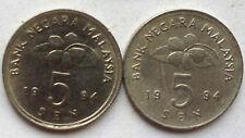Malaysia 5 sen 1994 coin 2 pcs