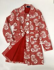 BODEN Red & White Floral Summer Midi Trench Coat Jacket, Size 8-10, VGC