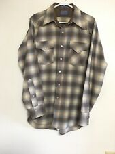 Vtg Pendleton High Grade Western Wear Shadow Plaid Wool Shirt M Long USA Snap