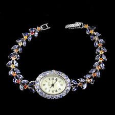Mop 925 Sterling Silver Watch Unheated Marquise Iolite Sapphire Tanzanite Dial