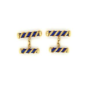 Authentic Tiffany & Co. 18k Yellow Gold Schlumberger Blue Navy Enamel Cufflinks