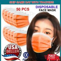 50 PCS Orange Face Mask Non Medical Surgical Disposable 3Ply Earloop Mouth Cover
