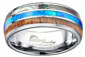 VPKJewelry  Tungsten Men Women Wedding Band Ring Opal Abalone shell Wood 10-8mm