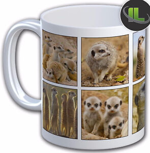 Personalised MEERKAT PHOTO COLLAGE Mug Cup.  Add any Name& text FOC - IL5301
