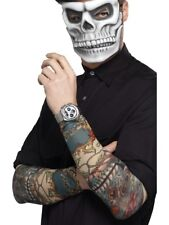 Day Of The Dead Tattoo Sleeves Mens Ladies Fancy Dress Accessory x2
