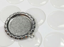 100  Flat Bottle Caps pendants with Split Rings & 100 Epoxy stickers for crafts