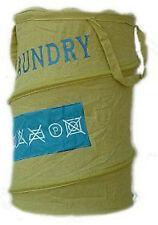 Cesto portabiancheria bagno laundry in cotone verde Gedy