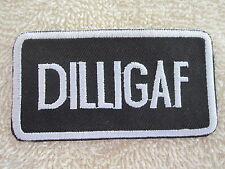 """""""DILLIGAF"""" Nomad Vest/Jacket Embroidered Biker Patch """"DILLIGAF"""""""