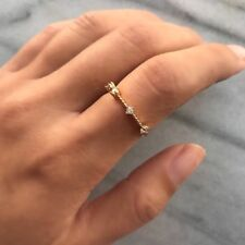 Exquisite Simple 925 Silver Small Sapphire Tiny Thin Tail Ring Wedding Jewelry