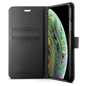 iPhone XS / XS Max | Spigen®[Wallet S] Two Card Slot Leather Wallet Case Cover