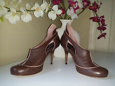 DIESEL CICCONE Brown Genuine Soft Leather Stilettos Shoes Bootie Sz. 7 EUR 37